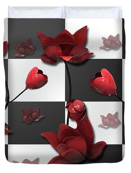 Burnt Crimson Flora Duvet Cover