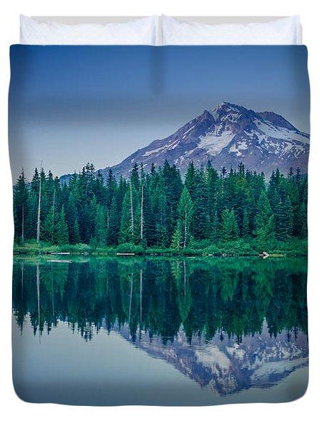 Burnt Lake Reflection Duvet Cover