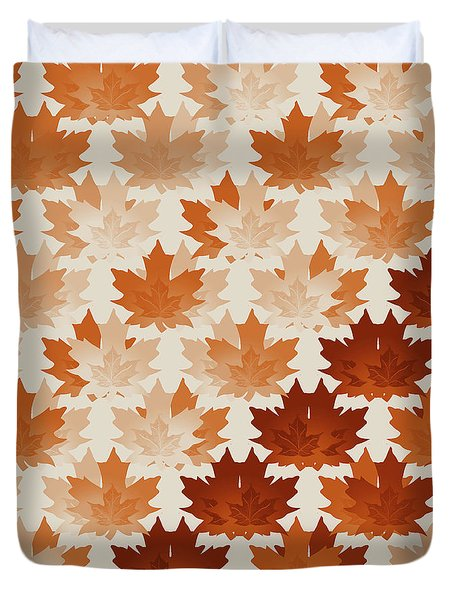 Duvet Cover featuring the digital art Burnt Sienna Autumn Leaves by Methune Hively