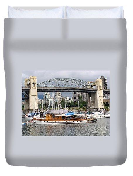 Duvet Cover featuring the painting Burrard Street Bridge, Vancouver by Rod Jellison