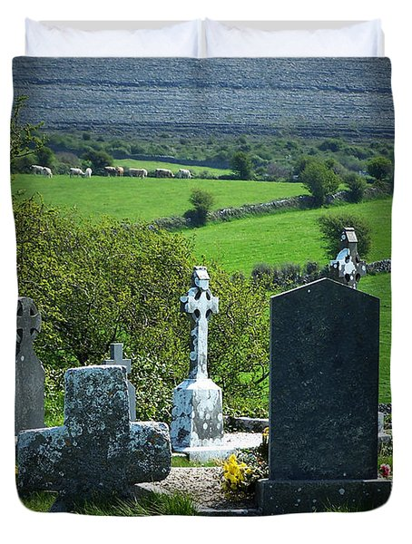 Burren Crosses County Clare Ireland Duvet Cover by Teresa Mucha