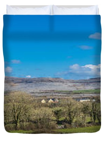 Duvet Cover featuring the photograph Burren Panorama by Juergen Klust
