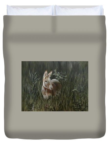 Duvet Cover featuring the painting Burro In The Wild by Roseann Gilmore