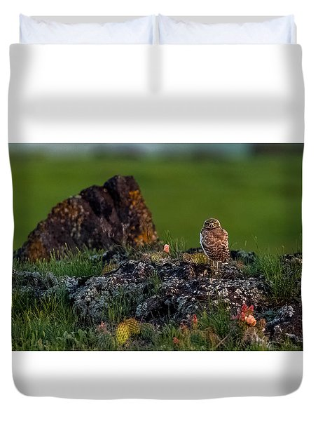 Duvet Cover featuring the photograph Burrowing Owl In Cactus #1 by Yeates Photography