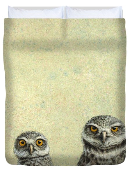Duvet Cover featuring the painting Burrowing Owls by James W Johnson