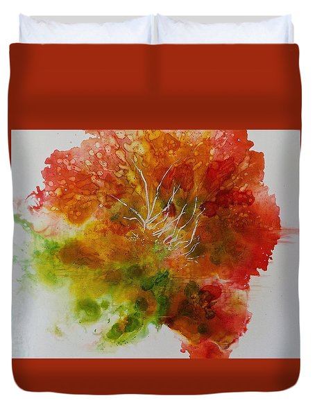 Duvet Cover featuring the painting Burst Of Nature by Carolyn Rosenberger