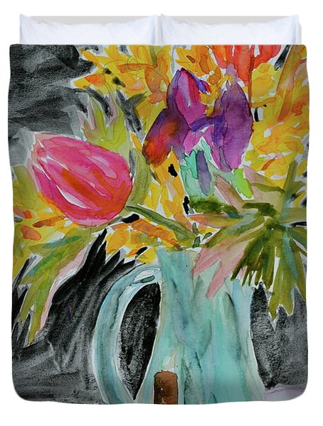 Duvet Cover featuring the painting Bursting Bouquet by Beverley Harper Tinsley
