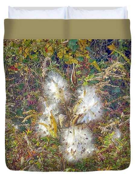 Duvet Cover featuring the photograph Bursting Milkweed Seed Pods by Constantine Gregory