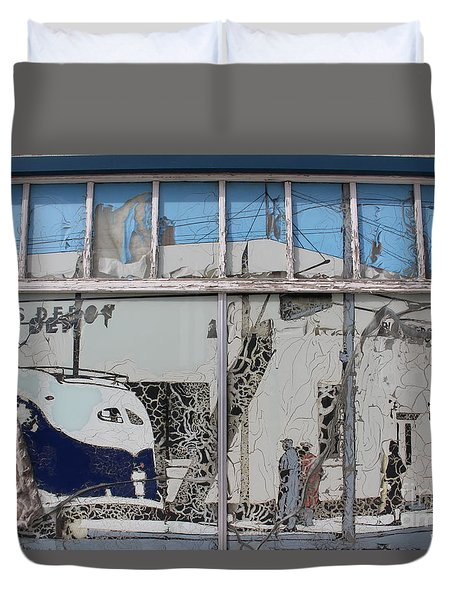 Vintage Bus Depot Sign Duvet Cover by Suzanne Lorenz