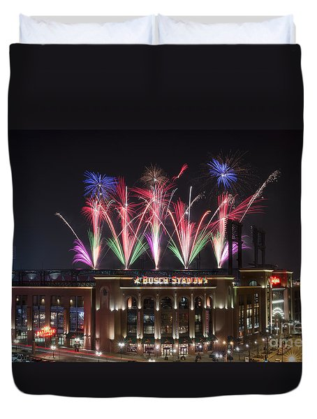 Duvet Cover featuring the photograph Busch Stadium by Andrea Silies