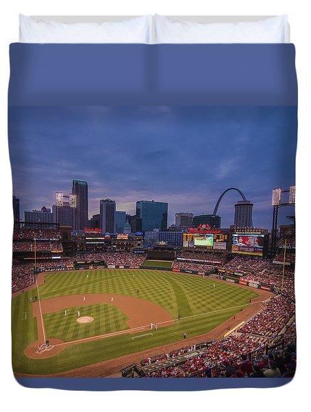 Busch Stadium St. Louis Cardinals Ball Park Village Twilight #3c Duvet Cover by David Haskett