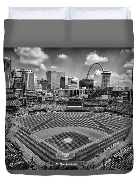 Busch Stadium St. Louis Cardinals Black White Ballpark Village Duvet Cover by David Haskett