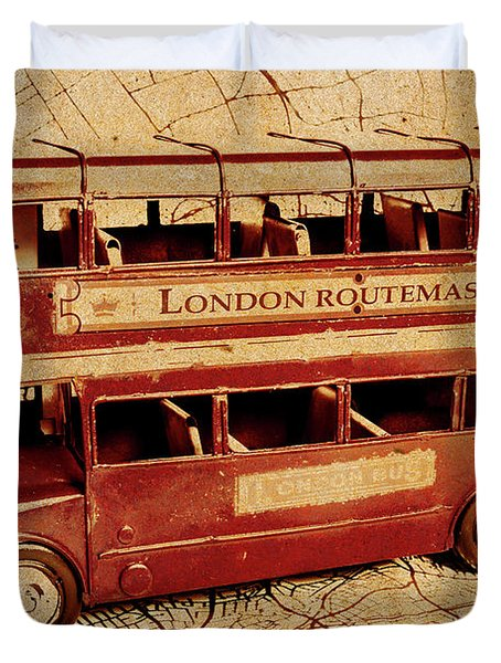 Buses Of Vintage England Duvet Cover
