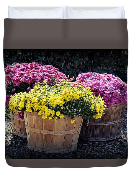 Duvet Cover featuring the photograph Bushels Of Fall Flowers by AJ Schibig
