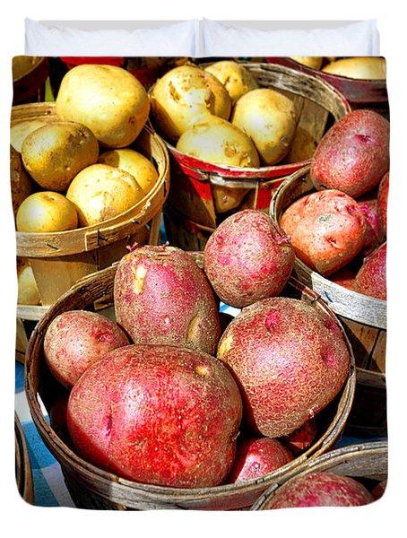 Bushels Of Potatoes At A Farm Market Duvet Cover