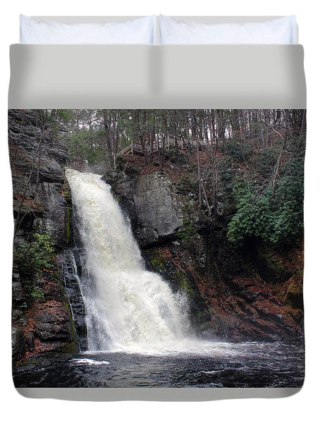 Duvet Cover featuring the photograph Bushkill Falls by Linda Sannuti