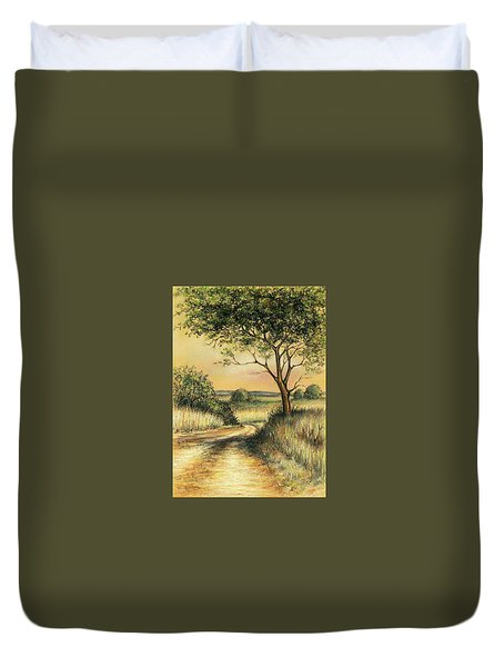 Duvet Cover featuring the drawing Bushveld by Heidi Kriel