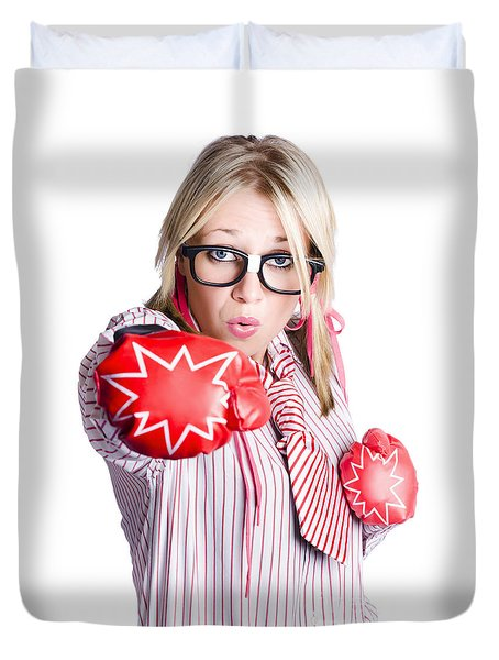 Businesswoman Training Duvet Cover by Jorgo Photography - Wall Art Gallery