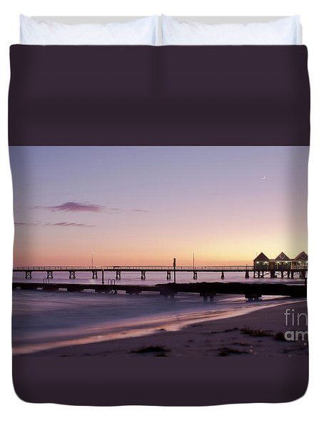Duvet Cover featuring the photograph Busselton Jetty Sunrise by Ivy Ho