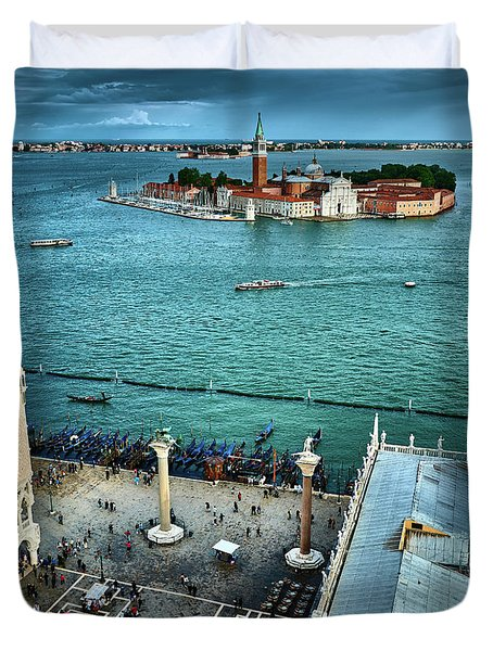 Piazza San Marco And San Giorgio Di Maggiore From The Bell Tower In Venice, Italy Duvet Cover