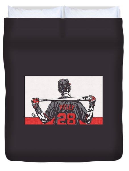 Buster Posey Duvet Cover by Jeremiah Colley