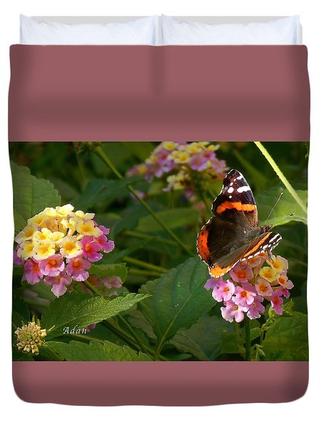 Duvet Cover featuring the photograph Busy Butterfly Side 1 by Felipe Adan Lerma
