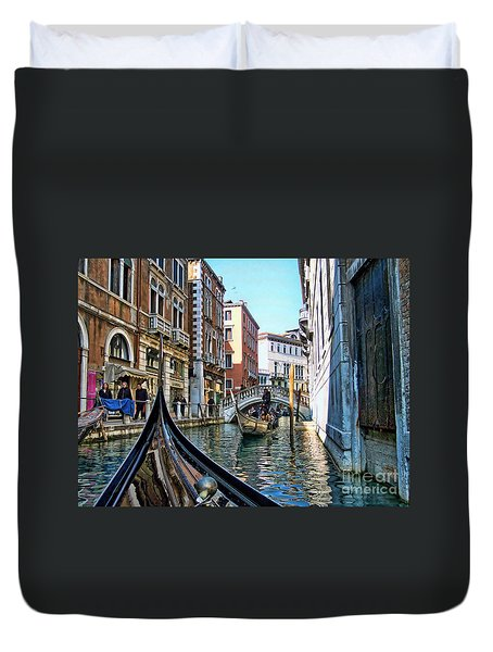 Duvet Cover featuring the photograph Busy Canal by Roberta Byram