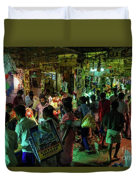 Duvet Cover featuring the photograph Busy Chennai India Flower Market by Mike Reid