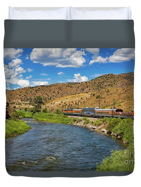 Busy Day On The River Duvet Cover