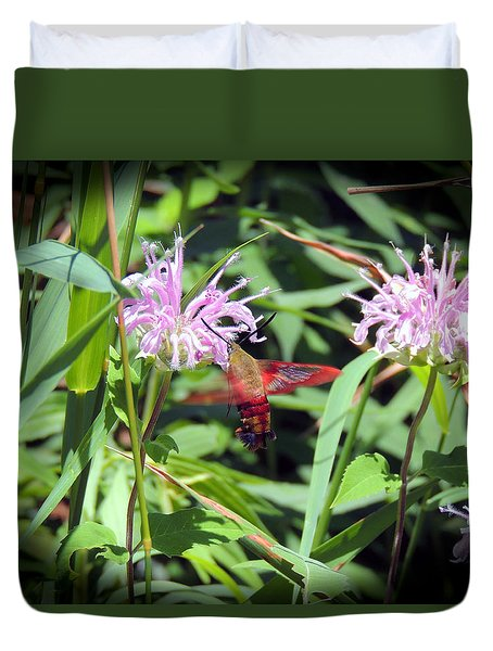 Busy Hummingbird Moth Duvet Cover by Teresa Schomig