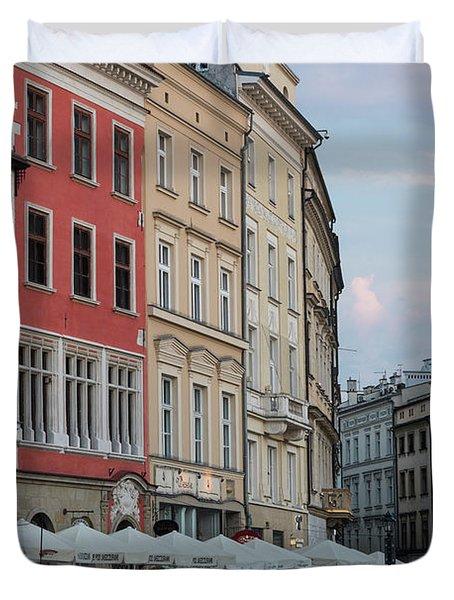 Busy Main Square Krakow Poland Duvet Cover