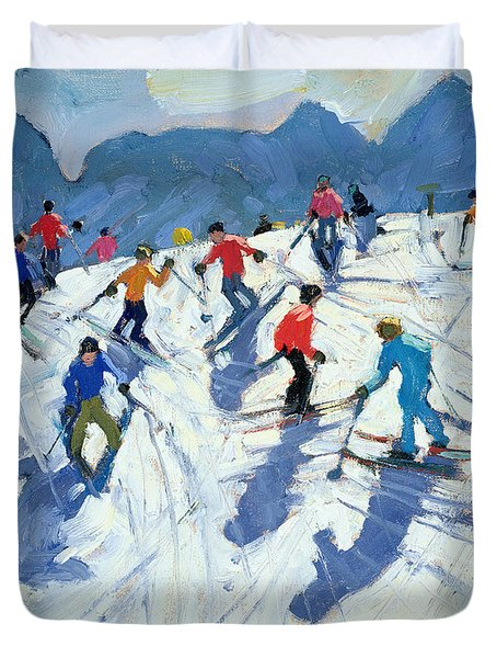 Busy Ski Slope Duvet Cover by Andrew Macara