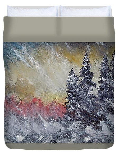 But The Weather Man Said.... Duvet Cover