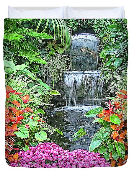 Butchart Gardens Waterfall Duvet Cover