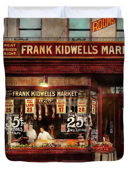 Duvet Cover featuring the photograph Butcher - Meat Priced Right 1916 by Mike Savad