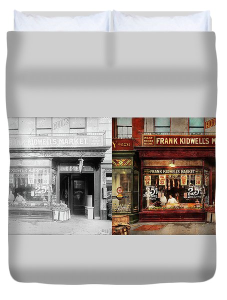 Duvet Cover featuring the photograph Butcher - Meat Priced Right 1916 - Side By Side by Mike Savad
