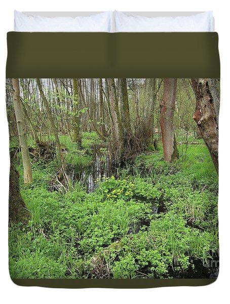 Buttercups In Wetlands Duvet Cover by Michal Boubin