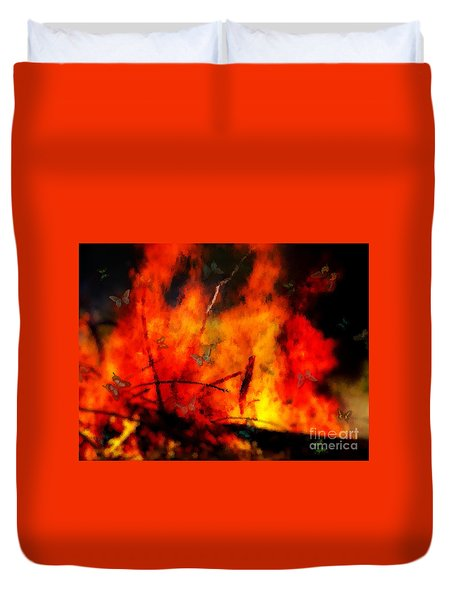Butterflies And Flame Duvet Cover