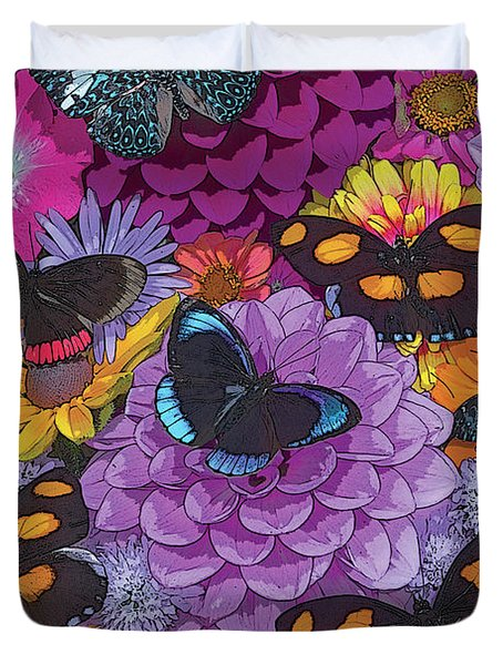 Butterflies And Flowers 2 Duvet Cover