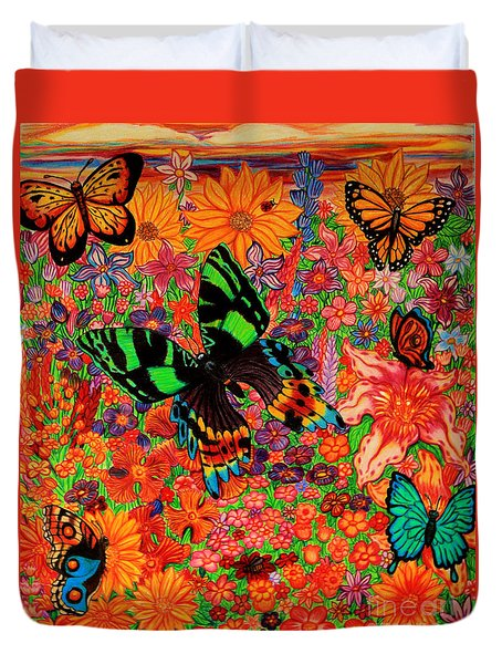 Butterflies And Flowers Duvet Cover by Nick Gustafson