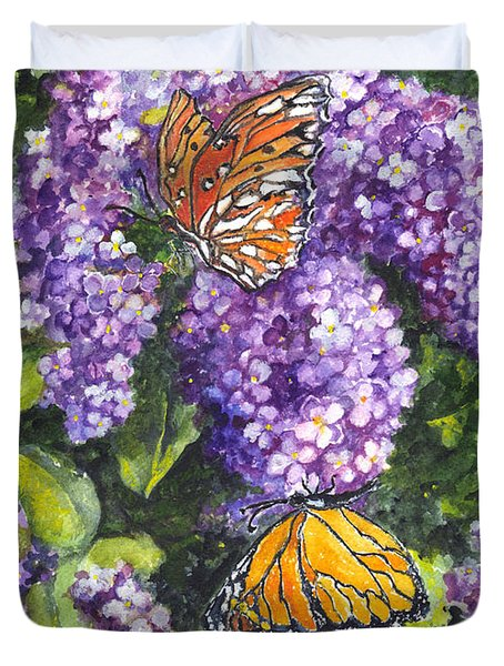 Butterflies And Lilacs Duvet Cover by Carol Wisniewski