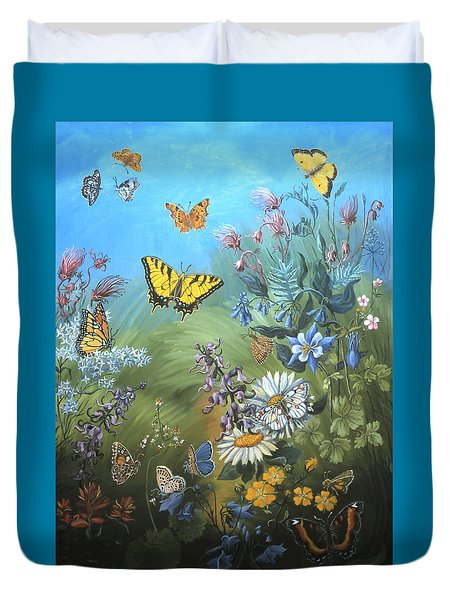 Butterflies And Wildflowers Of Wyoming Duvet Cover