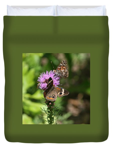 Butterflies And Purple Flower Duvet Cover by Cathy Harper