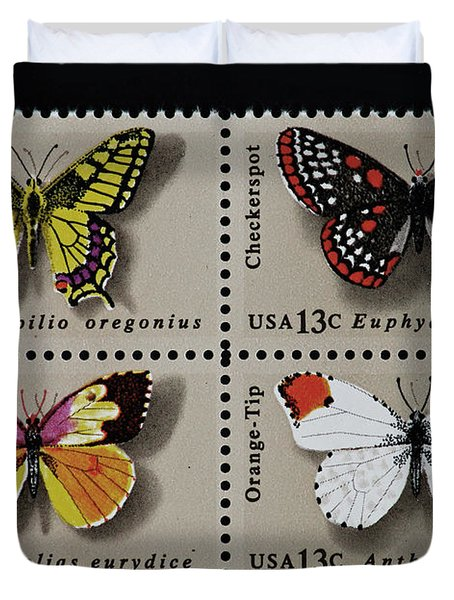 Butterflies Postage Stamp Print Duvet Cover by Andy Prendy