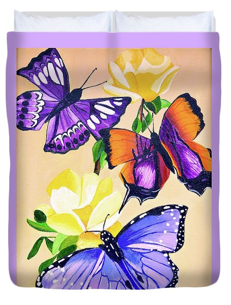 Butterflies With Yellow Roses Duvet Cover