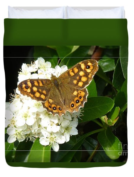 Duvet Cover featuring the photograph Butterfly 1 by Jean Bernard Roussilhe