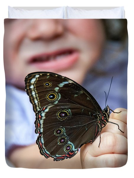 Duvet Cover featuring the photograph Butterfly A Helping Hand by Ron White