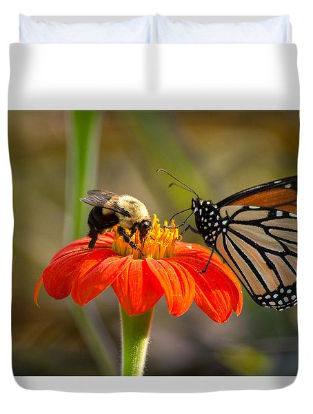 Butterfly And Bumble Bee Duvet Cover
