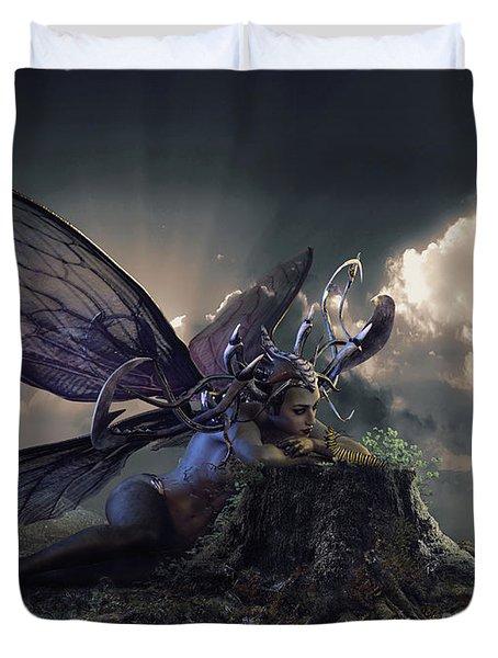 Butterfly And Caterpillar Duvet Cover