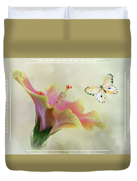 Butterfly And Fiesta Hibiscus Duvet Cover